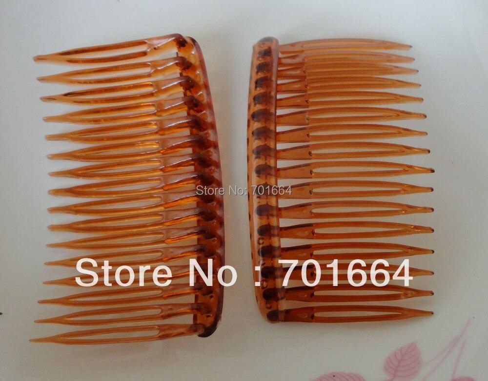 10 шт. 5,0 см * 8,0 см 16 зубов Очистить цвет загара плотная Пластик гребни для diy аксессуары для волос, сбоку гребень оптовая продажа