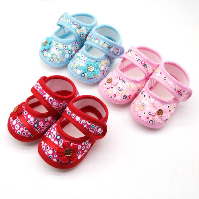 Baby Girl Multicolored Circles Stick Shoes Breathable Anti-Slip Flower Shoes  Infant Shoes