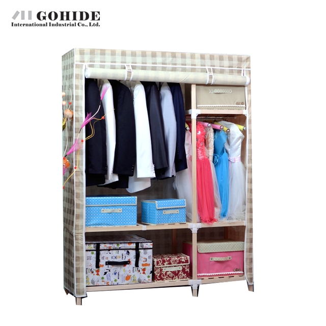 Gohide Solid Wood Simple Cloth Combination Wardrobe Wood Cabinet DIY Closet Wardrobe Folding Living Room Furniture