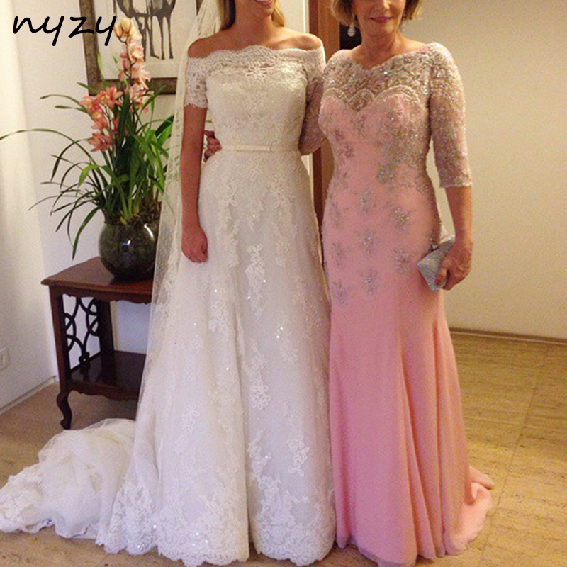 NYZY M63 Elegant Mother Of The Bride Dresses 3/4 Sleeves Low Back Chiffon Pink Groom Mother Gowns 2019 Wedding Party Evening