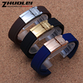 Novo estilo de Alta Qualidade azul preto marrom faixa de relógio de borracha com fivela de implantação de aço inoxidável cinta 20mm Pulseira À Prova D' Água