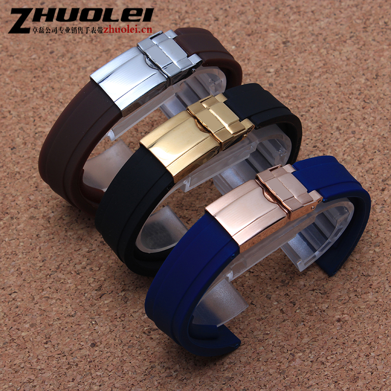 new style High-quality blue black brown rubber with stainless steel deployment buckle watch band Waterproof strap 20mm Bracelet цены