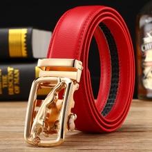 Высококачественные ремни ковбойские Мужские красные Пояса Золотые Роскошные брендовые автоматические пряжки дизайнерские поясные джинсы размер 125 см