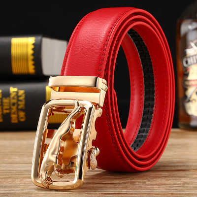 high quality   belts   cowboys men's red   belt   gold luxury Jaguar Automatic buckle designer waist strap jeans size 125cm