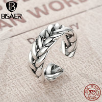 BISAER Pure 100 925 Sterling Silver Triple Twisting Braided Band Finger Ring European Sterling Silver Fine
