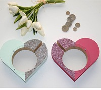 GUUUUO Wooden Love Money Box Wedding Decor Baby First Birthday Newborn Baby Gift Coin Bank Heart