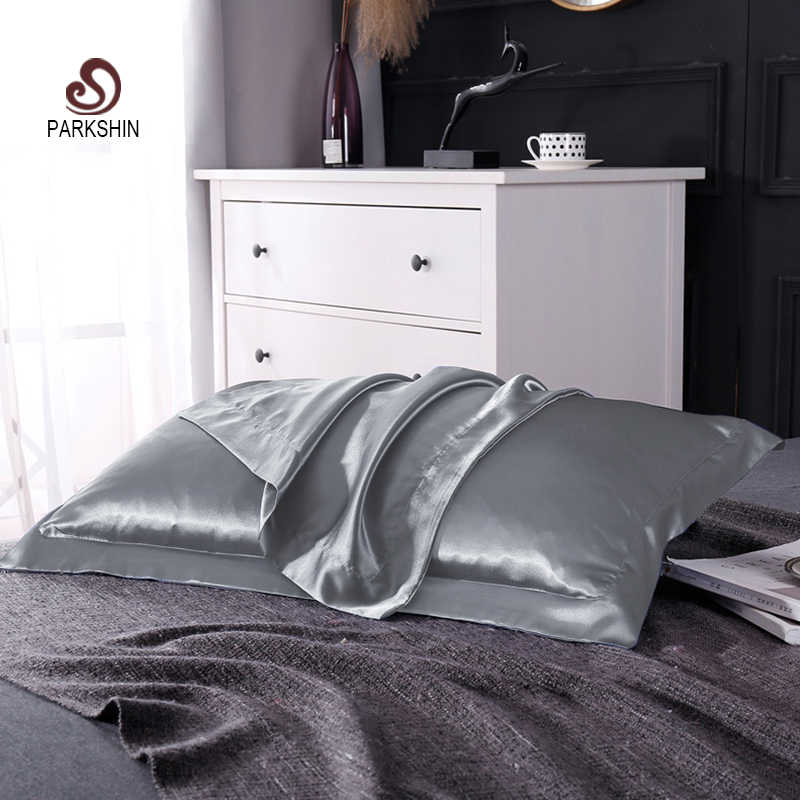 Parkshin Pillowcase 100% Satin Silk Bedding Pillowcase Luxury 48X74CM Bed Healthy Cover Pillow Case Home Textiles Free Shipping