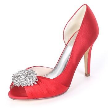 Creativesugar satin D'orsay side empty elegant lady evening dress shoes with know and crystal brooch bridal wedding prom heels