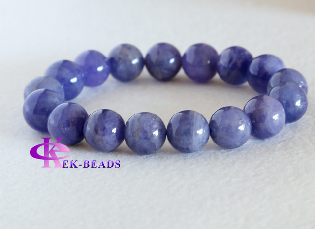 Discount Wholesale Natural Genuine Blue Tanzanite Finished Stretch Men's Bracelets Beaded Round Big beads 13mm 03180
