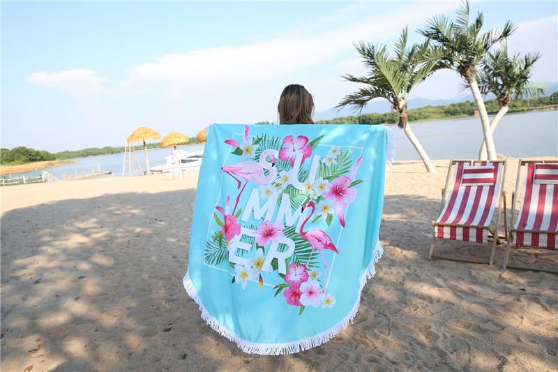 HTB1vZweSpXXXXbcaFXXq6xXFXXXF - Round Style Microfiber Beach Towel - Flamingo With Tassels Design