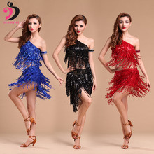 Latin Dance Costume Skirt Performance Wear Adult Tassel Sequins Clothing for Women Latin Dance Dress Ballroom Free Shipping все цены