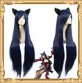 100CM High Quality Heat Resistant LoL Ahri Dark Blue Wig League of Legends Synthetic Hair Cosplay Wig + Plush Fox Ear + Wig Cap