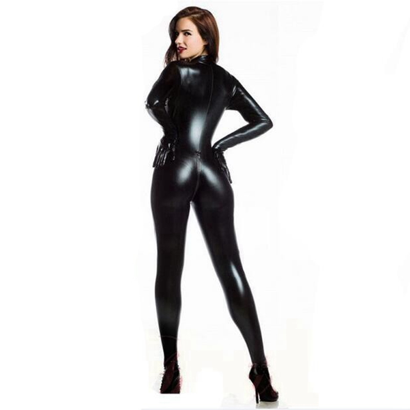 Image 4 - Women Sexy Wetlook PVC Latex lingerie bodysuit With gloves Open Crotch Clubwear fetish Catwoman Faux Leather catsuit costumes-in Teddies & Bodysuits from Novelty & Special Use