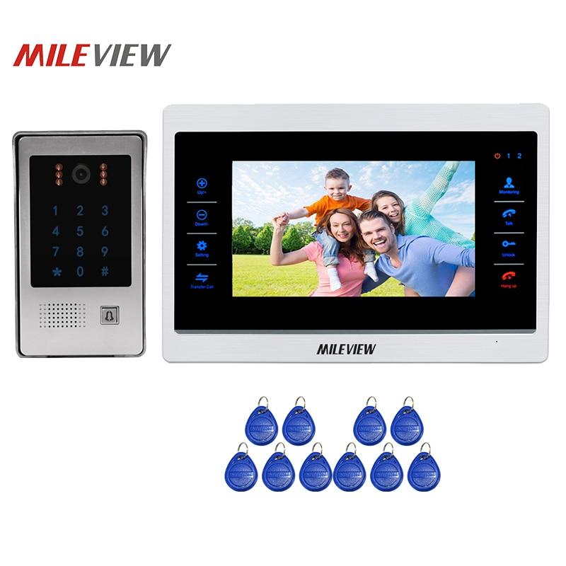 Free Shipping 1.0MP 720P AHD HD Motion Detection 10 Video Intercom Door Phone Record Screen System RFID Keypad Doorbell Camera