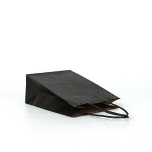 Image 4 - 30 יח\חבילה מתנת שקיות עם ידיות רב פונקציה שחור נייר שקיות 3 גודל למחזור סביבה הגנת נייר תיק