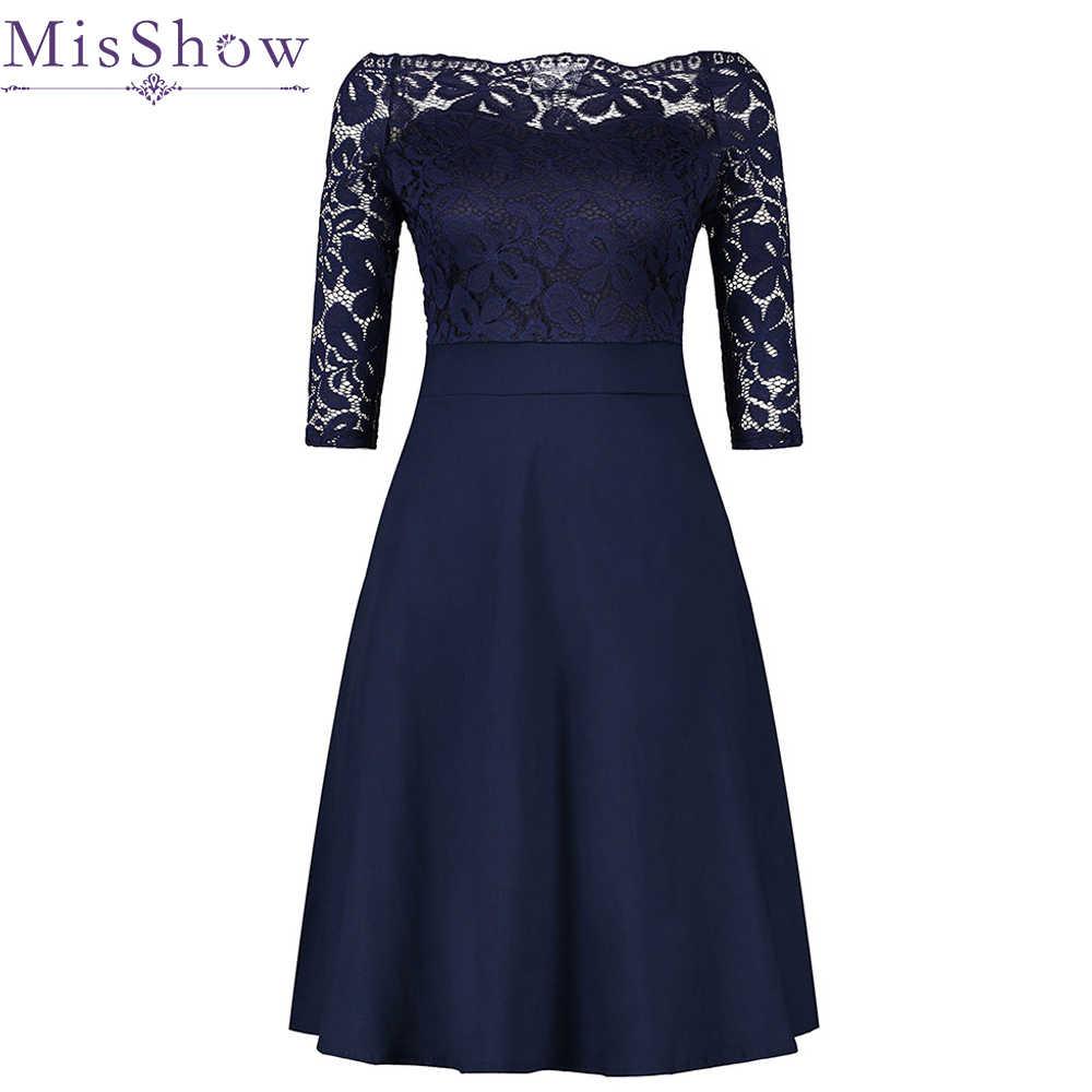 fc0af33a61e91 Cheap Navy Blue Cocktail Dresses Elegant Short Little Black Dress Lace Off  shoulder Formal Dresses Short Sleeve Satin Prom Gown