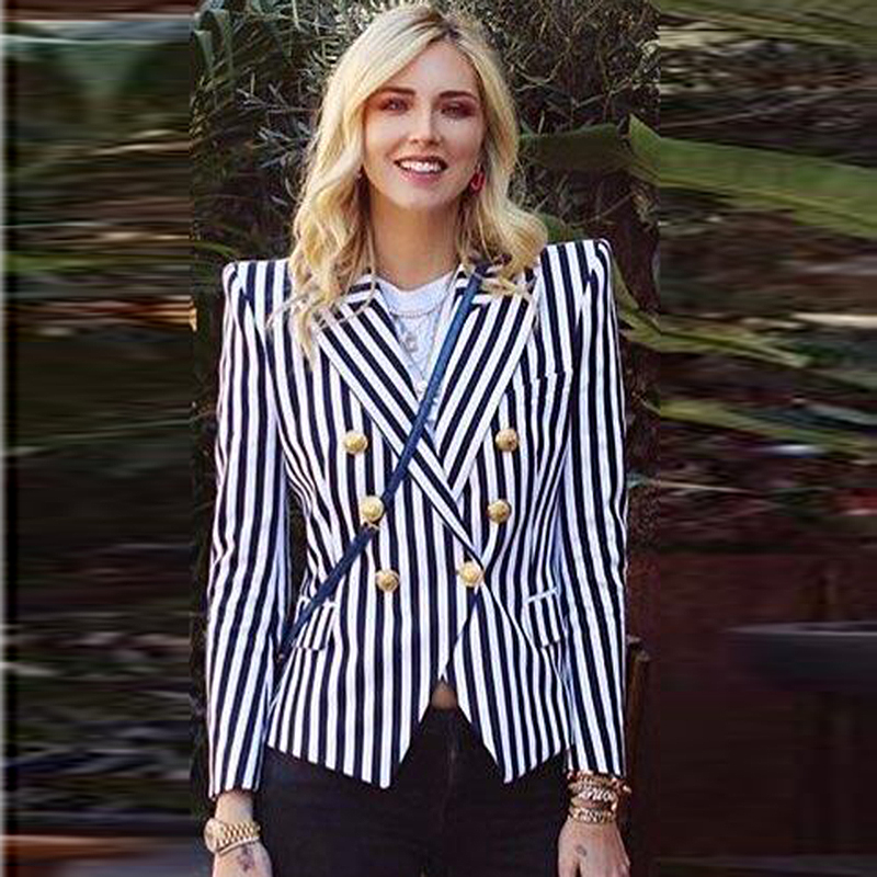 HIGH QUALITY Newest Fashion 2020 Designer Blazer Women's Slim Fit Lion Buttons Double Breasted Vertical Striped Blazer Jacket