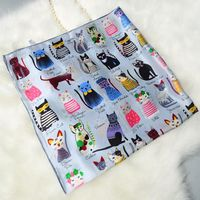 Fabulous Cats Printed Bandana Hijab Shawl 100 Satin Silk Scarf Square Silk Scarf Women 90 90