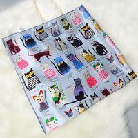 Cartoon Cats Printed Bandana Hijab Shawl 100% Satin Silk Scarf Square Silk Scarf Women 90*90 Hand Rolled Luxury Scarves & Wraps