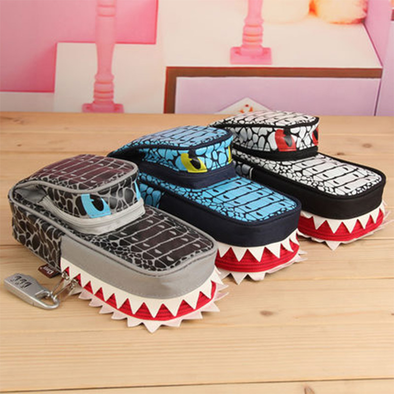 Creative Shark school pencil case for kids gift Cute big capacity Combination Lock pen bag Stationery pouch school supplies big capacity high quality canvas shark double layers pen pencil holder makeup case bag for school student with combination coded lock