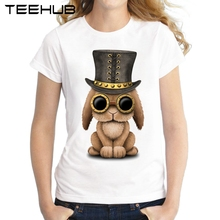 2017 Summer Steampunk Baby Bunny Rabbit Women T-Shirt New Fashion Cool Rabbit Printed Lady Tops Short Sleeve Novelty Tee Shirts