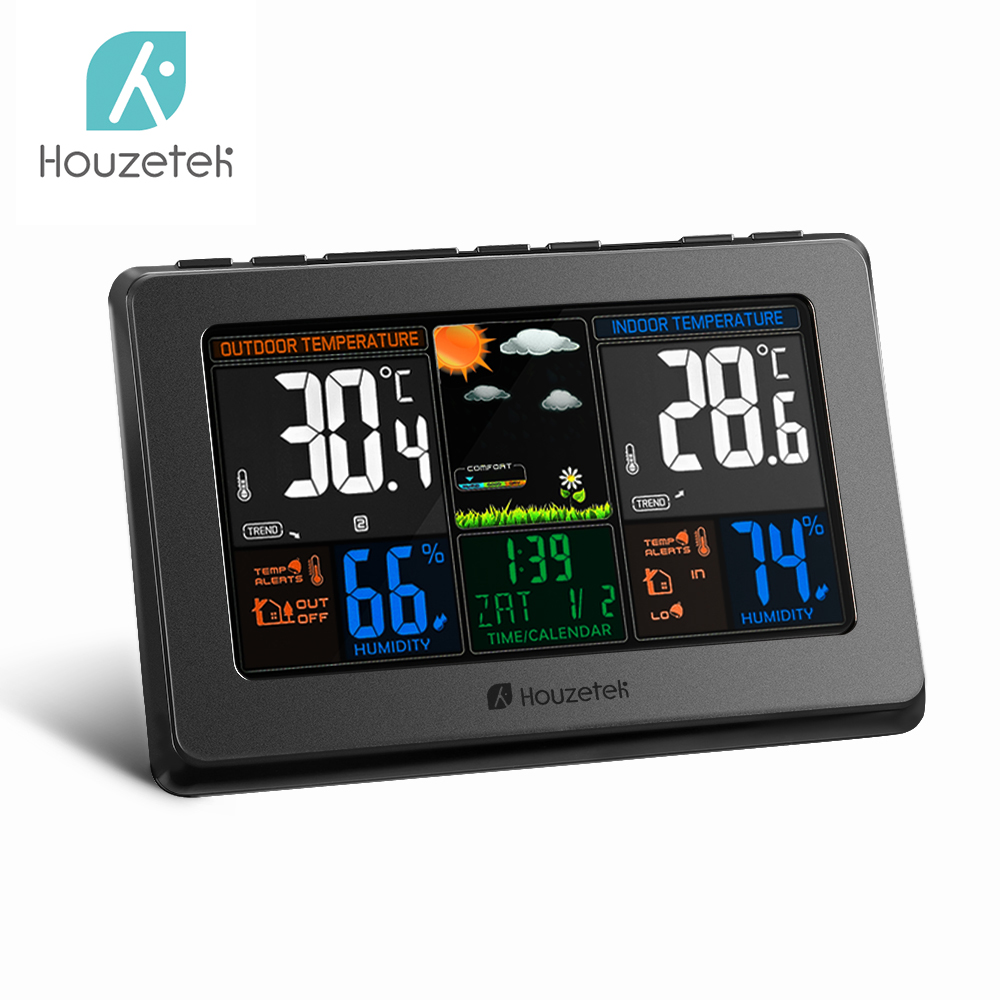 Houzetek Wireless Weather Station Indoor Outdoor Temperature Humidity Sensor Colorful LCD Weather Forecast Station