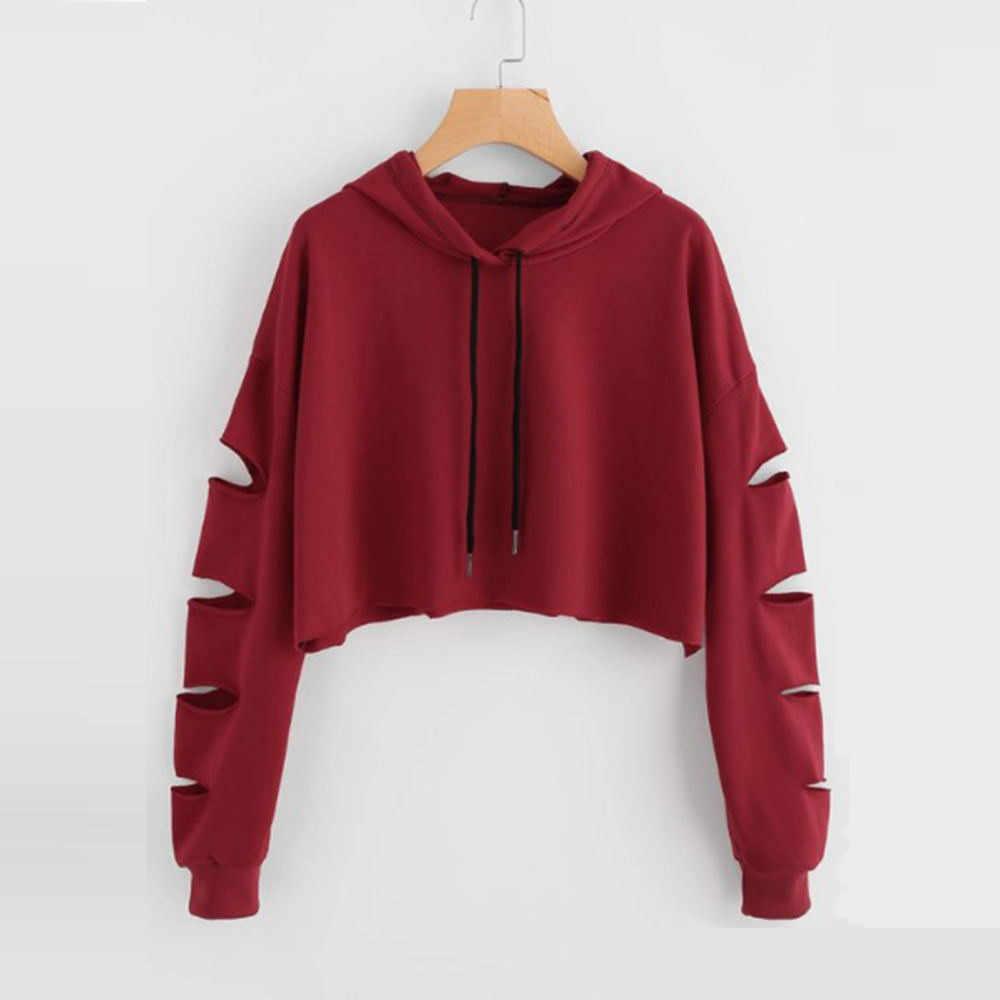 tan baratas venta caliente online precio limitado Cropped Hoodie Women Sweatshirt Casual Solid Long Sleeve ...