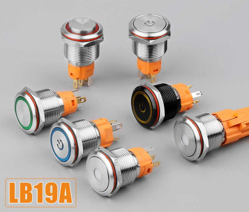 2pcs 19mm Metal Button Switch 220v 3a Switch Ring Light
