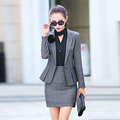 Las mujeres Ropa de Trabajo Trajes Pantalón Nuevo 2016 Fall Fashion Ladies Formal Trabajo de oficina Elegantes Trajes Blazer Feminino con Pant Plus Size XXL