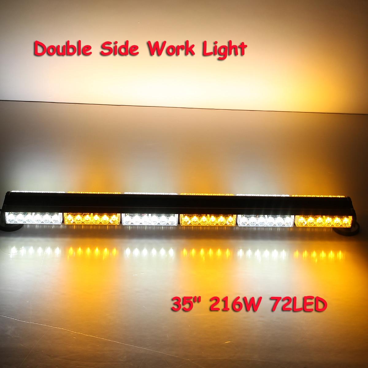 35 216W 72LED Style Double Side Work Light Bar Beacon Warn Strobe Lights Amber White Strobe Emergency Light Profession