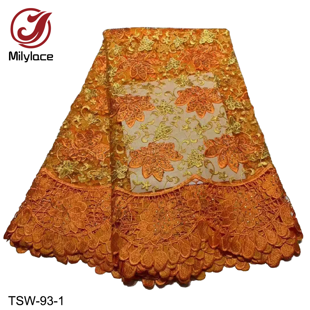 Thick two-color embroidered african lace fabric delicat tulle lace fabric with rhinestones 5 yards decoration for clothes TSW-93