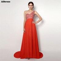 W Magazynie Czerwona Seksowna Plaża Evenig Sukienka Paciorkami Kryształy Jedno Ramię Suknie Wieczorowe Długa Szyfonowa Formalna Suknia Kobiety Suknia