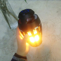 Portable Waterproof Flame LED Atmosphere Lamp Wireless Bluetooth Speaker With LED Flickers USB Outdoor Camping Familiy