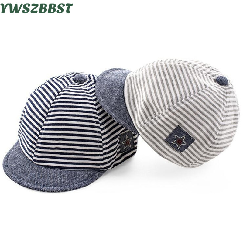 Sommer Baby Hat Bomuld Infant Hatte Cute Star Striped Soft Eaves Baseball Cap Baby Boy Hat Baby Girls Sun Cap