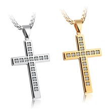 OLOEY 2019 New Cross Pendant Necklace Mens Crystals Stainless Steel Necklaces Fashion Casual Hipster Jewelry Accessories Boys