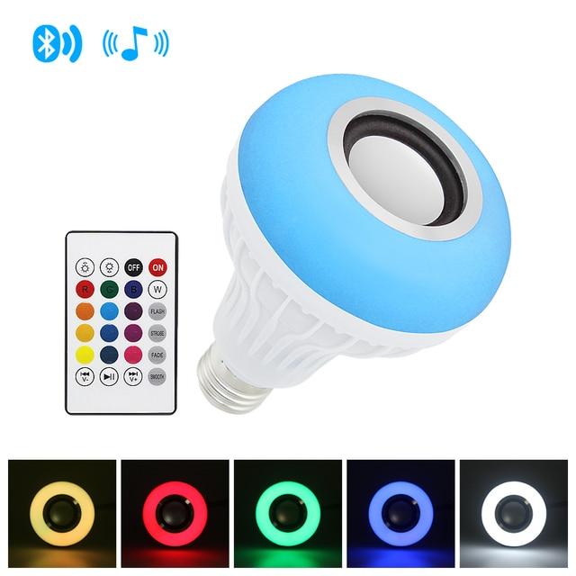 Akıllı E27 12W ampul LED ampul RGB ışık kablosuz Bluetooth ses hoparlör müzik çalma dim lamba ile 24 anahtar uzaktan kontrol