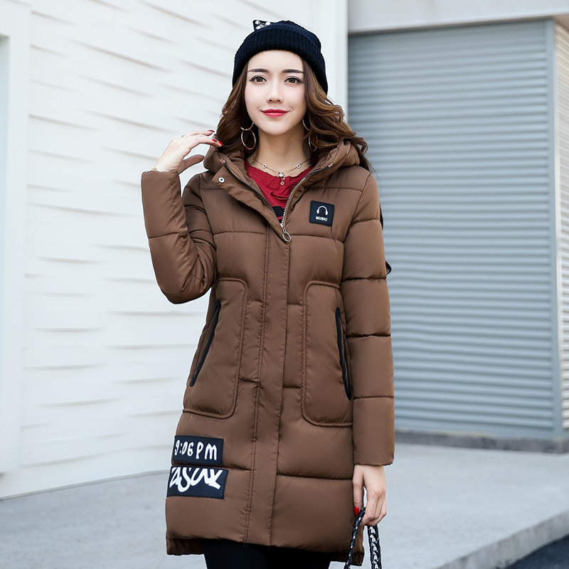 2017 New Fashion Winter Parkas Slim Hooded Fur Collar Jacket Down Pattern Cotton Padded Warm Thick Long Coat Female Overcoats 2017 new winter fashion women down jacket hooded thick super warm medium long female coat long sleeve slim big yards parkas nz18