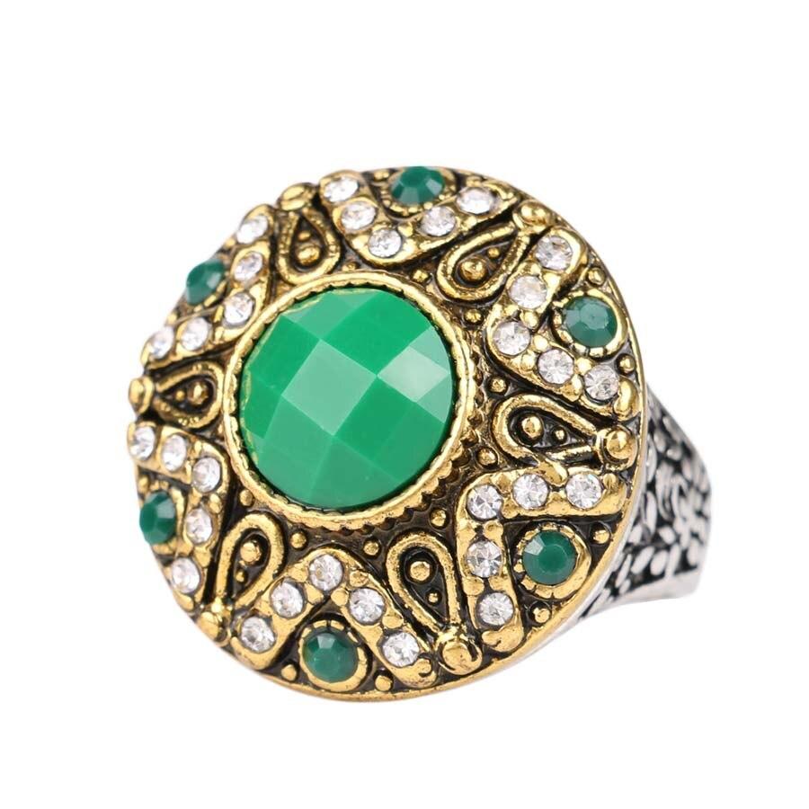 green resin ring fashion gold color metal retro