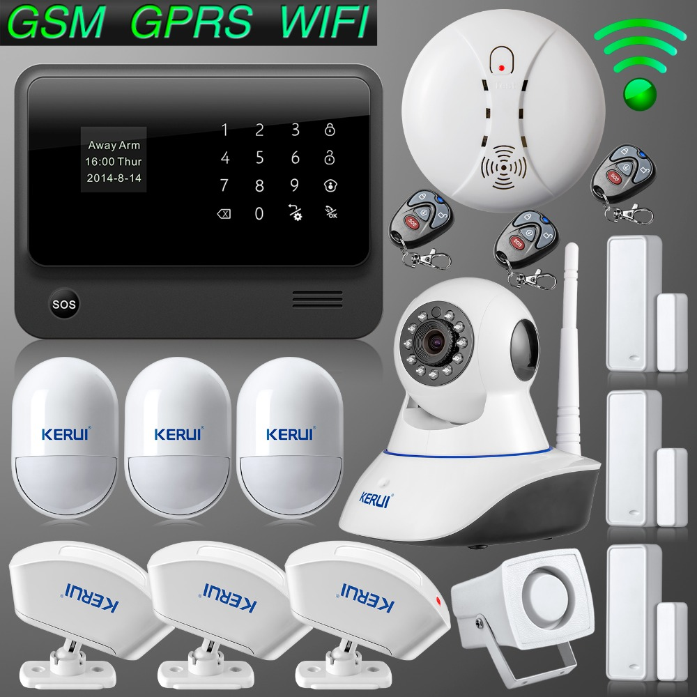 WiFi Internet GSM GPRS SMS OLED Home Alarm System font b Security b font Kit HD
