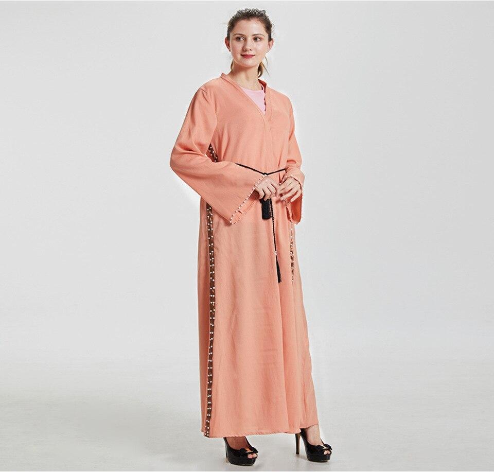 Musulmano Adulto Fresco Tessuto Di Lino Abaya Arabo Del Diamante Di Modo Di Abaya Musulmano Abiti Musicale Veste Di Preghiera Ramadan Vestito Wq253 Dropship