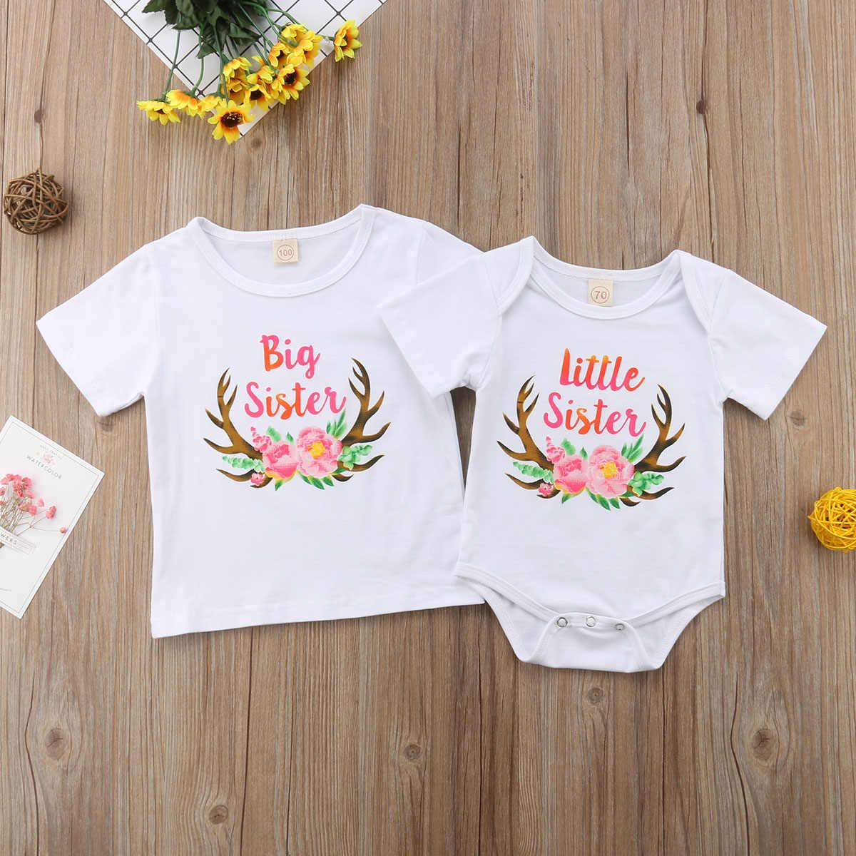 Семейная одежда с надписью «Big Sister» футболка Little Sister короткий  рукав Футболка комбинезон Детские e19d58e131a