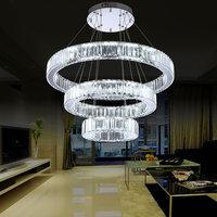 AC100 240V D20cm to D80cm three sides LED crystal pendant lights 2017 New Arrival Modern Long crystal diamond lamp Free Shipping