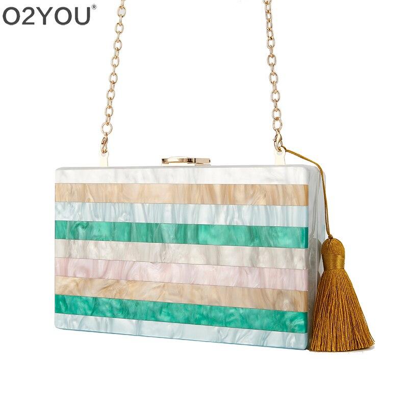 Evening Handbags Clutch Acrylic-Bag Party Women Tassel Patchwork Messenger-Shoulder Crossbody