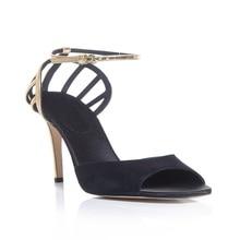 Sommer Stil Partei Knoechelriemchen Für Frauen Sandalen Thin High Heels Billige Schuhe Wildleder Schnalle Sexy Damen Marke Schuhe