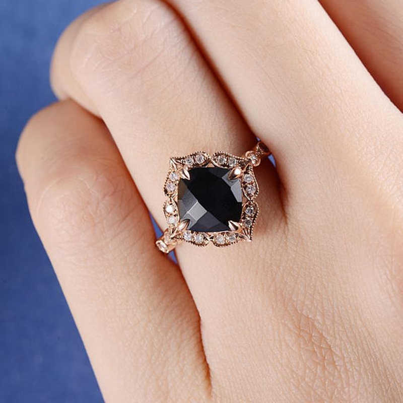 Best Selling Fashion Jewelry Black CZ Geometric Vintage Retro Finger Ring Women High Quality Wide Design Party Jewelry H4D095