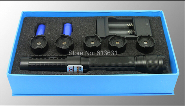 High Power 20000MW 20mw  adjustable focus blue laser pointer+5 * laser heads of flashlight+ glasses+Burning cigarette +Gift box