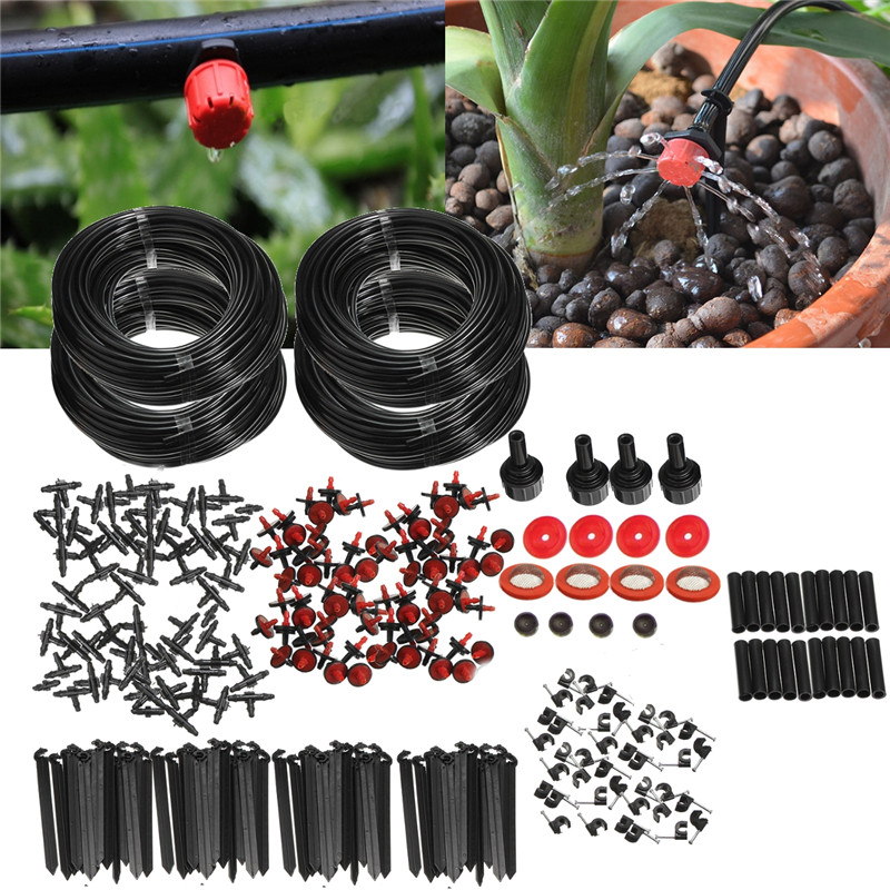 92m Micro goutte à goutte Irrigation auto arrosage système automatique Kit Set goutteurs pour plante jardin serre eau goutte à goutte Irrigation
