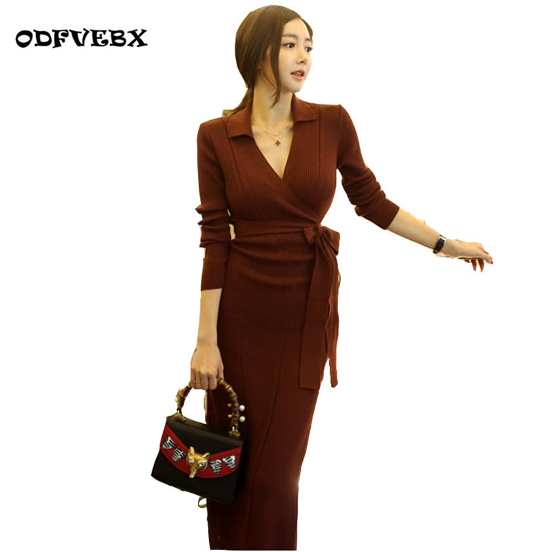 Autumn and winter new women dress high-end sexy Slim long sweater dress V-neck wrap Knit long-sleeved dress ODFVEBX HY147