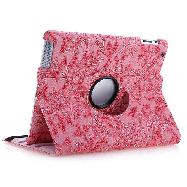 La novedad mezclada Color Special Design Ultra delgado 360 giratoria estela del sueño de cuero Tablet soporte antideslizante completo caja para el iPad 2 / 3 / 4