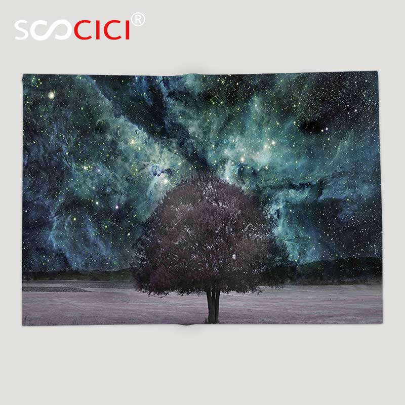 Custom Soft Fleece Throw Blanket Apartment Decor Outer Space Nebula Galaxy Stars Mars Jupiter with a Tree on a Planet Print